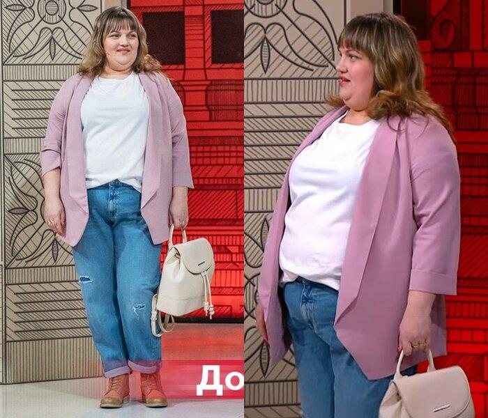 """""""Модный приговор"""", Юлия, с фигурой """"яблоко"""" - Белый топ с рваными джинсами и розовым жакетом"""