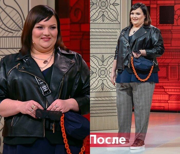 """""""Модный приговор"""", Юлия, с фигурой """"яблоко"""" - Короткая чёрная косуха с клетчатыми брюками"""