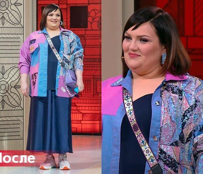 """""""Модный приговор"""", Юлия, с фигурой """"яблоко"""" - Двухцветная куртка с пайетками на синий комплект с топом и юбкой"""
