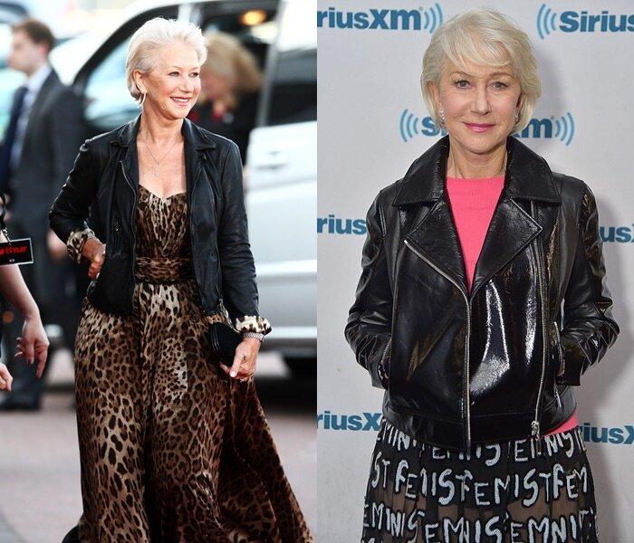 Знаменитости старше 50 в кожаных куртках - Хелен Миррен в платье и куртке
