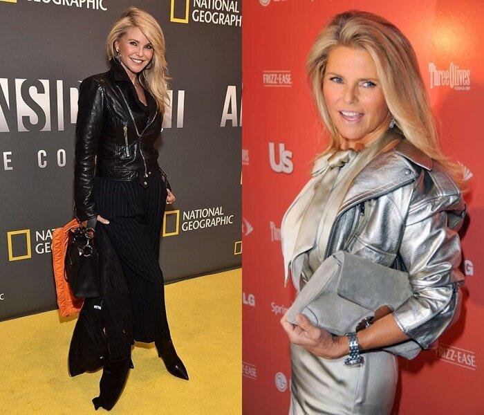 Знаменитости старше 50 в кожаных куртках - Кристи Бринкли
