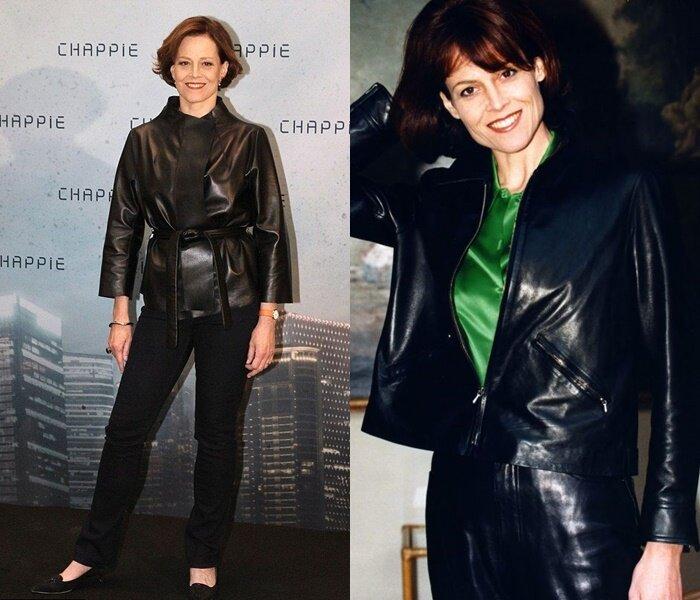 Знаменитости старше 50 в кожаных куртках - Сигурни Уивер