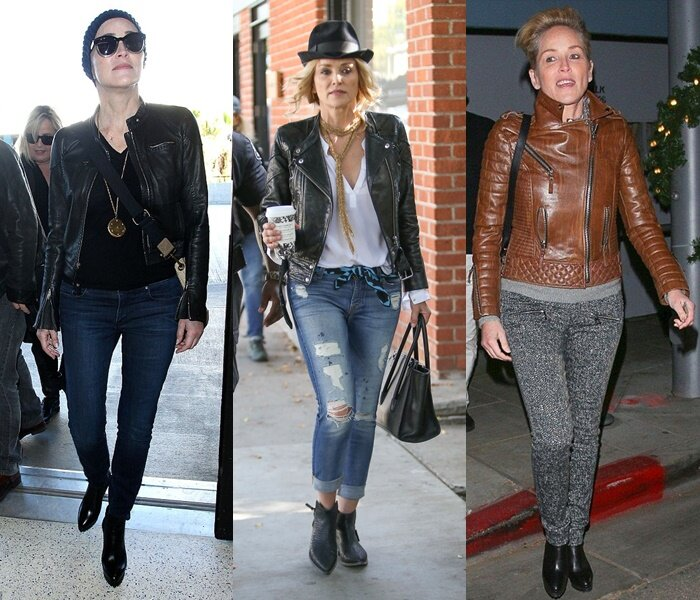 Знаменитости старше 50 в кожаных куртках - Шэрон Стоун в джинсах