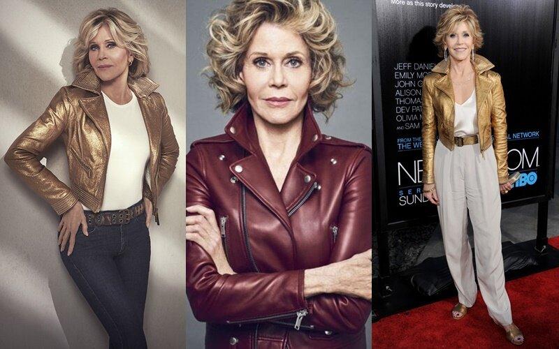Знаменитости старше 50 в кожаных куртках - Джейн Фонда