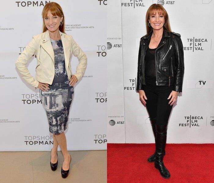 Знаменитости старше 50 в кожаных куртках - Джейн Сеймур в белой и черной куртке