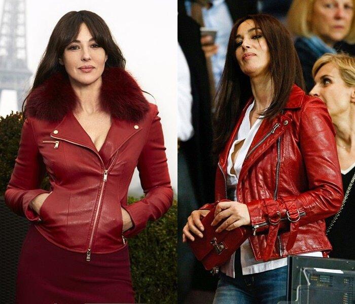 Знаменитости старше 50 в кожаных куртках - Моника Беллуччи