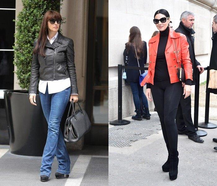 Знаменитости старше 50 в кожаных куртках - Беллуччи в кожанках