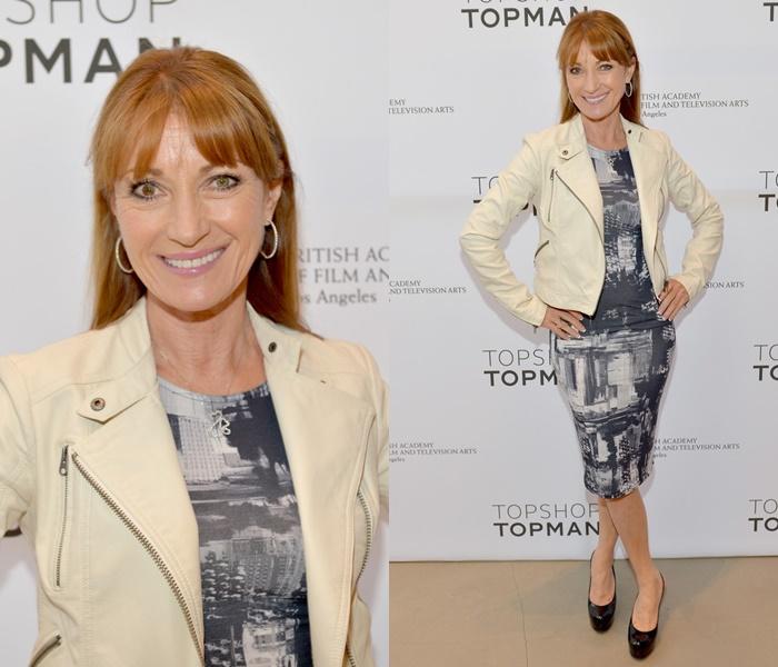 Стиль Джейн Сеймур в кожаных куртках - Серое платье с молочно-белой косухой