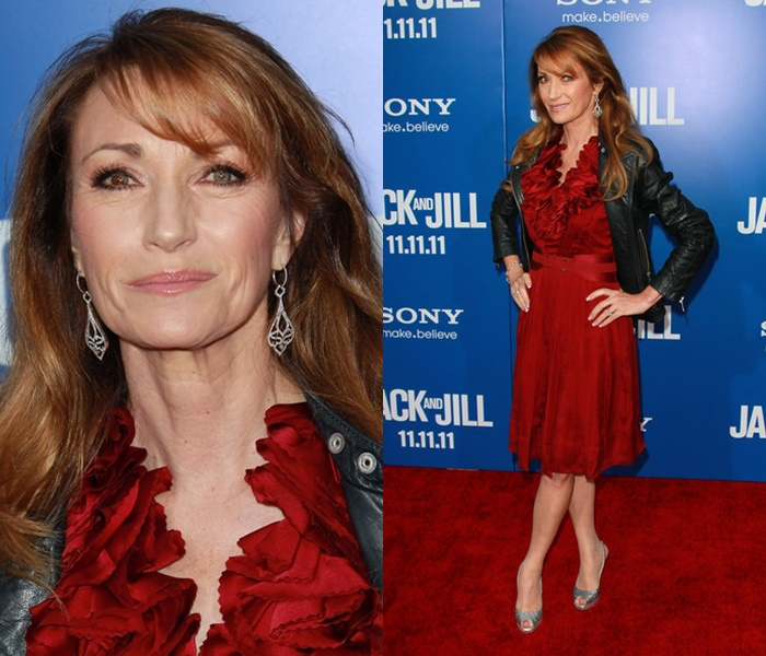 Стиль Джейн Сеймур в кожаных куртках - Классическая косуха на красное платье с объёмным декором