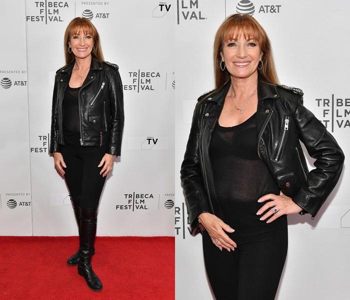 Стиль Джейн Сеймур в кожаных куртках - Чёрная куртка на прозрачный топ с леггинсами