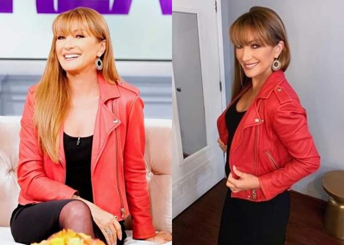 Стиль Джейн Сеймур в кожаных куртках - Красная косуха на чёрное платье