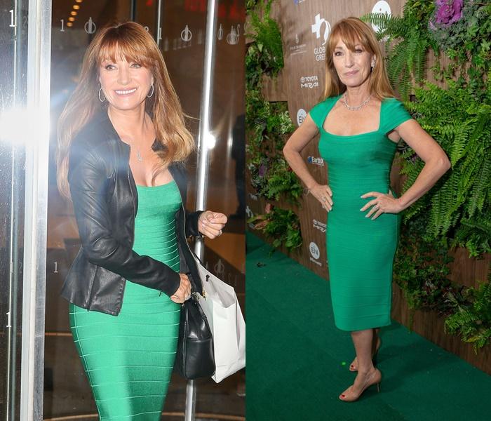Стиль Джейн Сеймур в кожаных куртках - Зелёное платье-миди с чёрной курткой