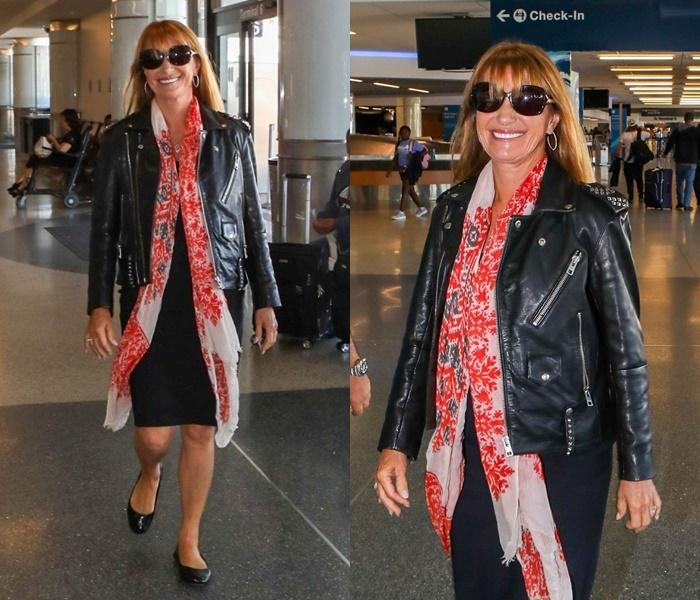 Стиль Джейн Сеймур в кожаных куртках - ожанка на молниях с чёрным платьем и принтованным шарфом
