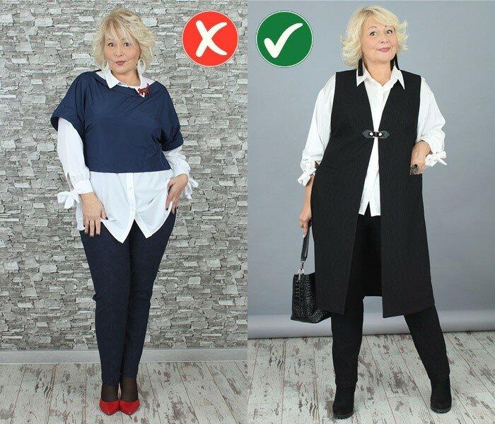 Как одеваться при полной фигуре - Вертикальные линии силуэта вместо горизонтальных