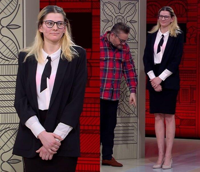 «Модный приговор», пацанка Евгения (25 лет) - Чёрно-белый комплект с жакетом, блузой и юбкой-карандаш