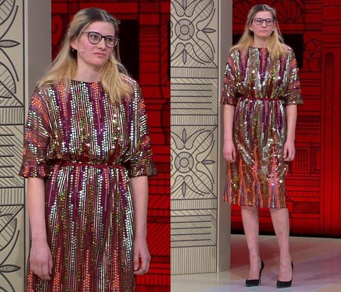 «Модный приговор», пацанка Евгения (25 лет) - Блестящее платье с пайетками
