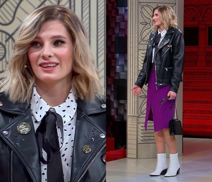 «Модный приговор», пацанка Евгения (25 лет) - Фиолетовая юбка с белой блузкой и курткой-косухой