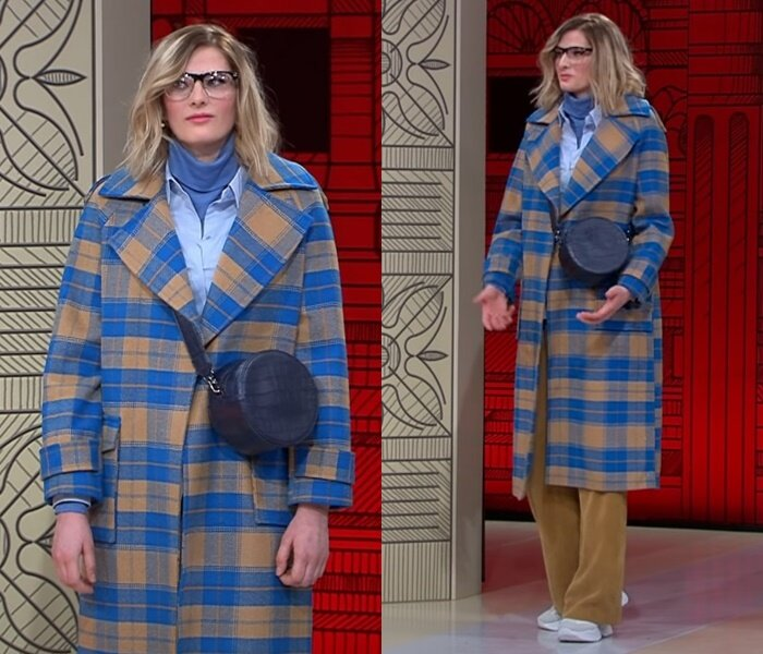 «Модный приговор», пацанка Евгения (25 лет) - Клетчатое пальто с брюками и рубашкой в бежево-голубой гамме