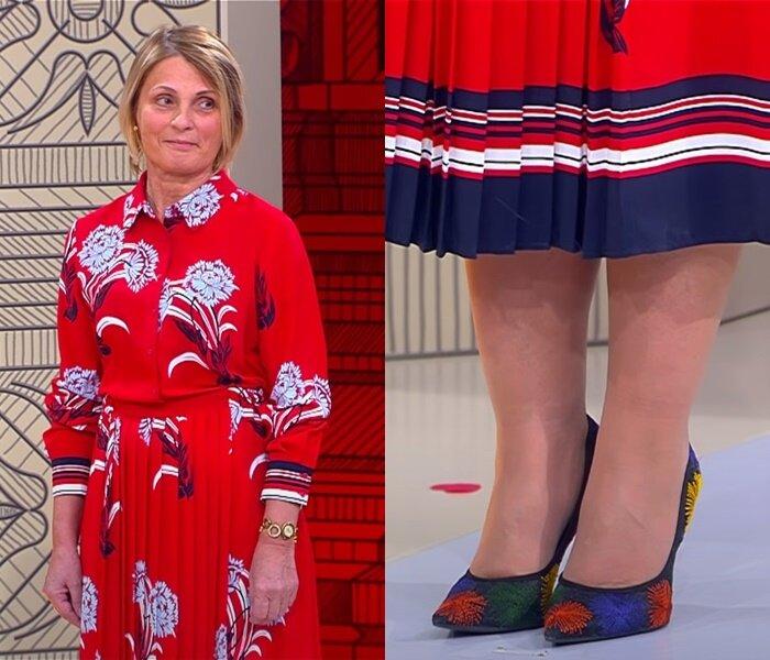 «Модный приговор», жена моряка 58 лет - платье-рубашка с плиссированной юбкой