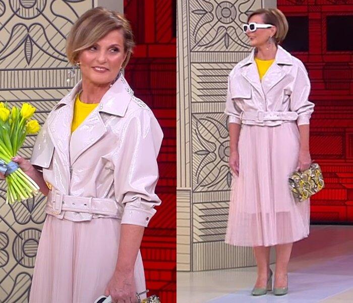 «Модный приговор», жена моряка 58 лет - Куртка из винила и плиссированная юбка