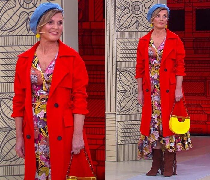 «Модный приговор», жена моряка 58 лет - платье с красным тренчкотом и голубым беретом