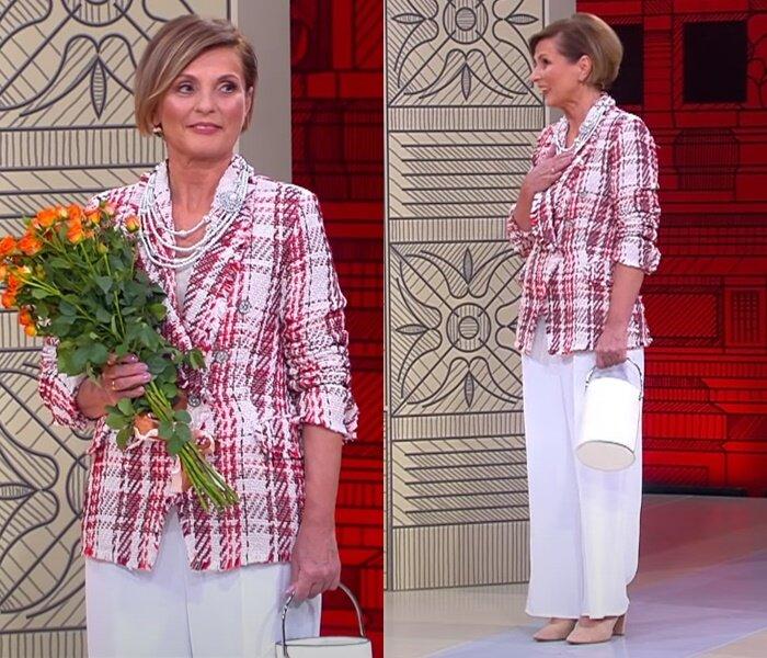 «Модный приговор», жена моряка 58 лет - Клетчатый розовый жакет с белыми брюками