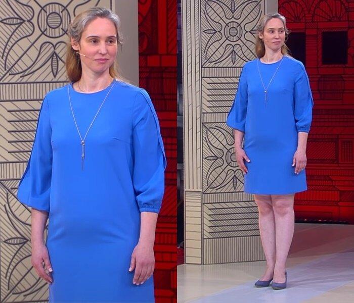 «Модный приговор» - молодая, но седая - Голубое платье-трапеция