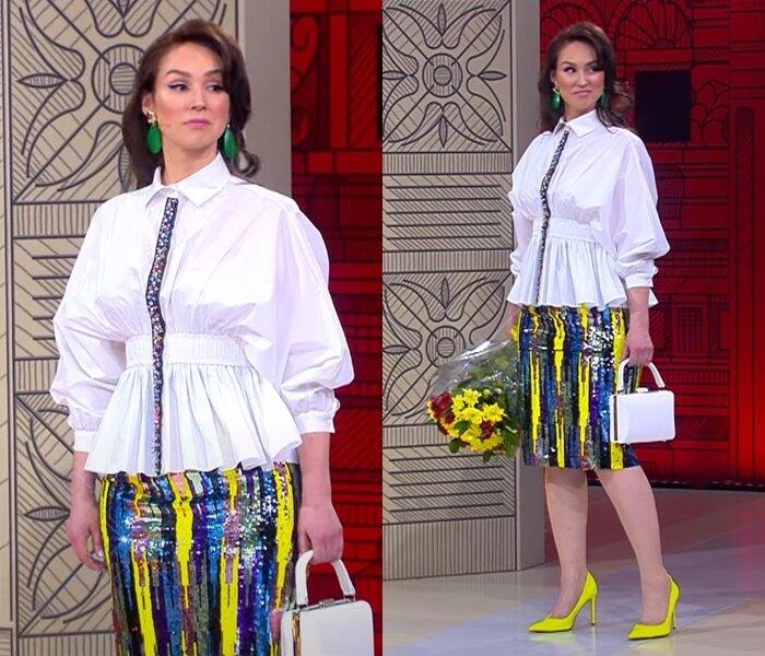 «Модный приговор» - молодая, но седая - Белая блузка с баской с юбкой-карандаш в пайетках
