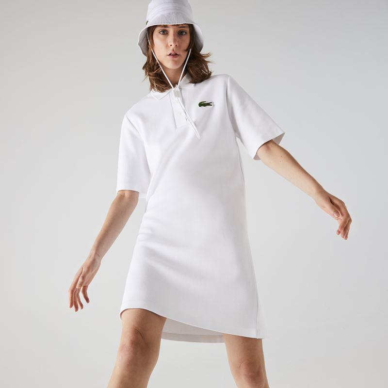 Платья с кроссовками Lacoste 2021-2022 - Короткое белое платье-поло с панамой