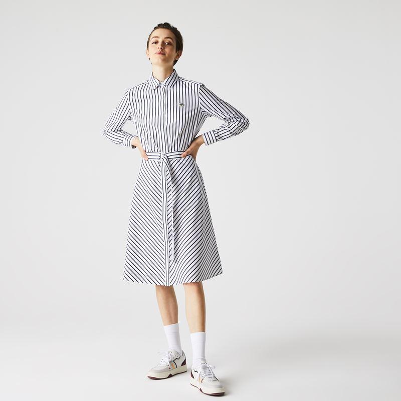 Платья с кроссовками Lacoste 2021-2022 - Платье-рубашка в полоску