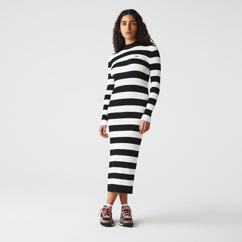 Платья с кроссовками Lacoste 2021-2022 - Длинное трикотажное платье в широкую горизонтальную полоску