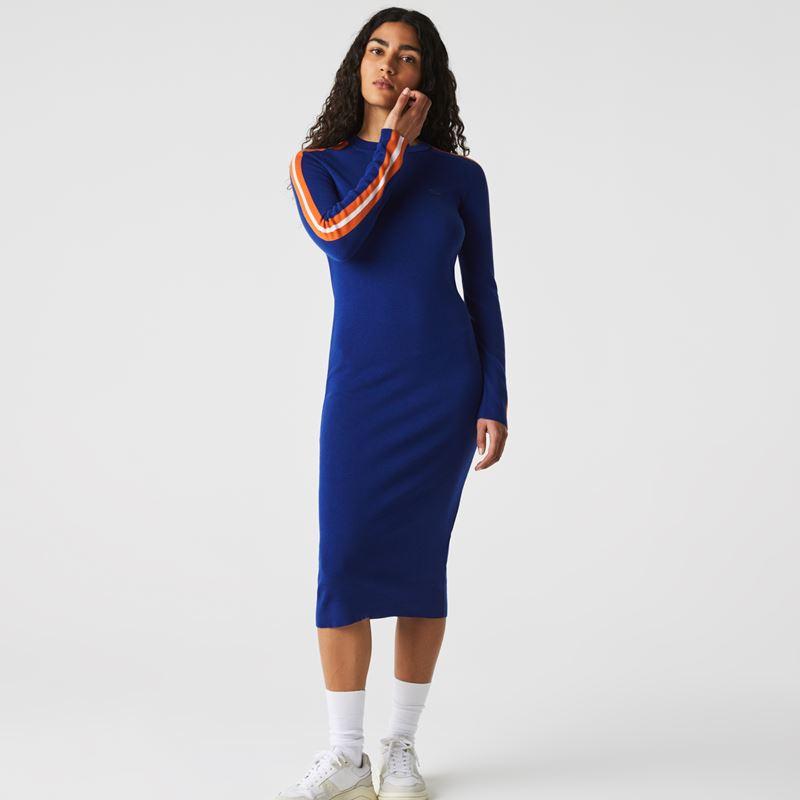 Платья с кроссовками Lacoste 2021-2022 - Синее трикотажное платье миди