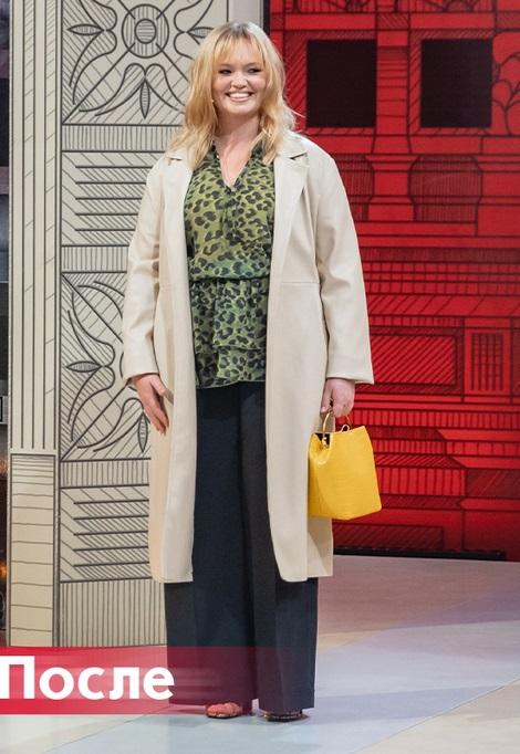 """""""Модный приговор"""" - Виктория, 37 лет - Леопардовая блузка с брюками-трубами и бежевым плащом"""