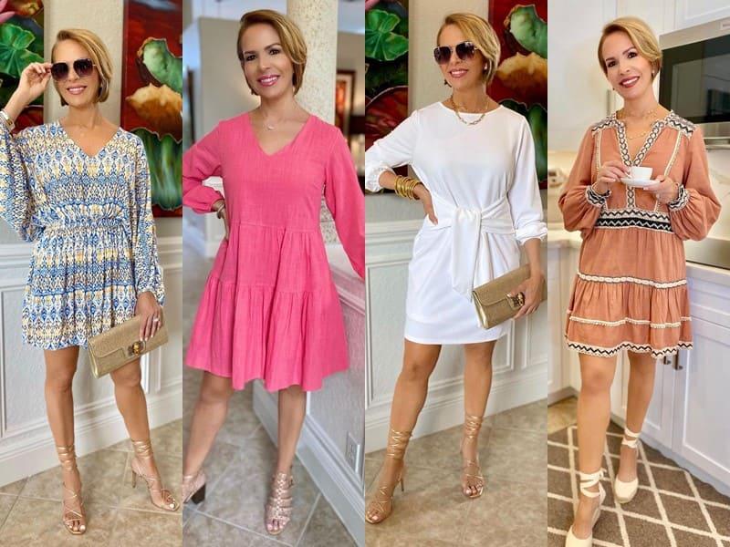 Стиль 50+ американки Риты Гриффин - Короткие платья с длинным рукавом