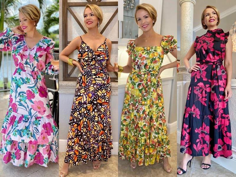 Стиль 50+ американки Риты Гриффин - Яркие платья с принтами и воланами