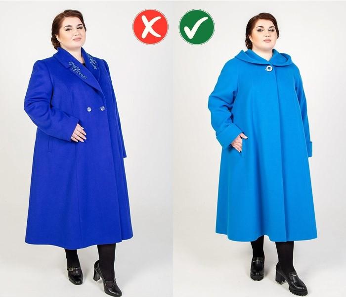 Верхняя одежда для полных - Однобортное пальто вместо двубортного