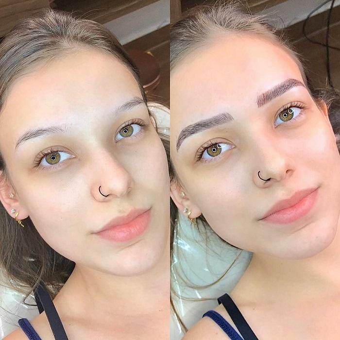 Брови меняют лицо: женщины до и после микроблейдинга - широко расставленные