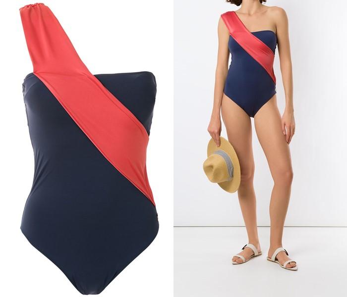 Слитные купальники колор блок коллекция Brigitte 2021 - бюстье с диагональной полосой на одно плечо