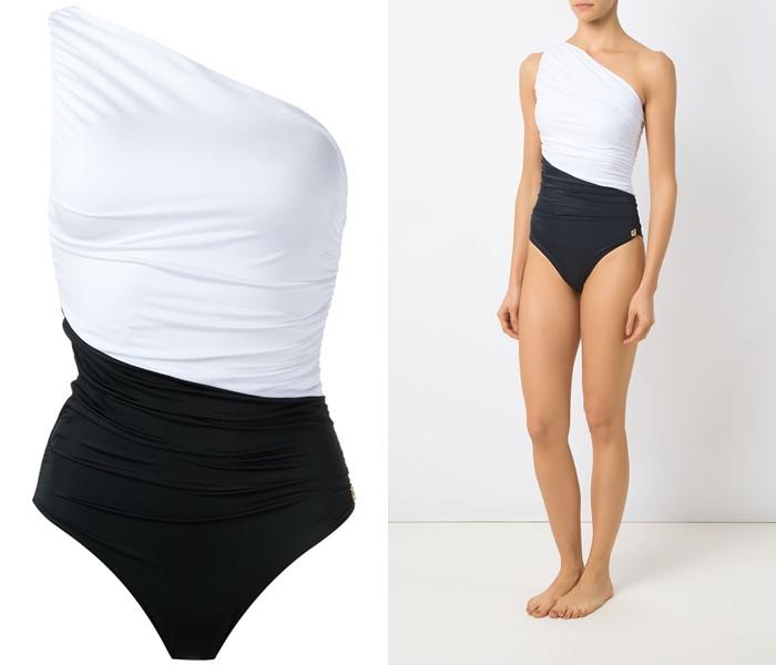 Слитные купальники колор блок коллекция Brigitte 2021 - Асимметричный чёрно-белый на одно плечо