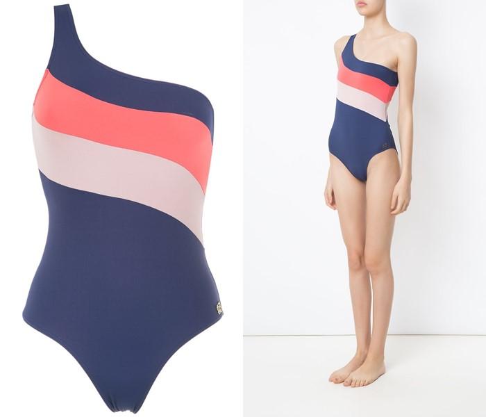 Слитные купальники колор блок коллекция Brigitte 2021 - Асимметричный синий на одно плечо с диагональными полосами