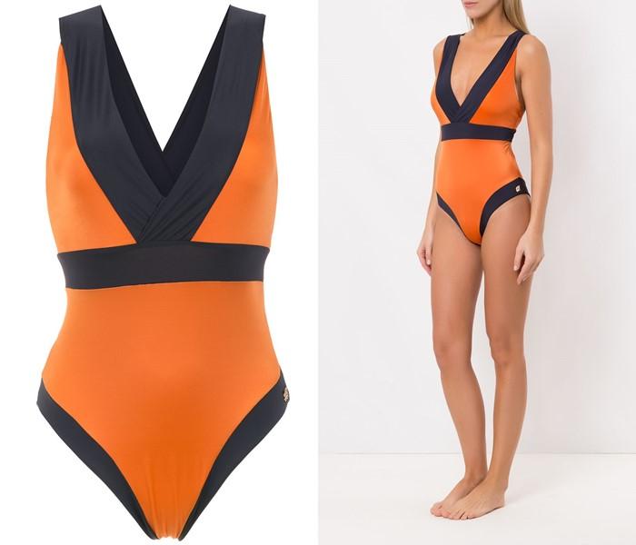 Слитные купальники колор блок коллекция Brigitte 2021 - Оранжевый с чёрными вставками