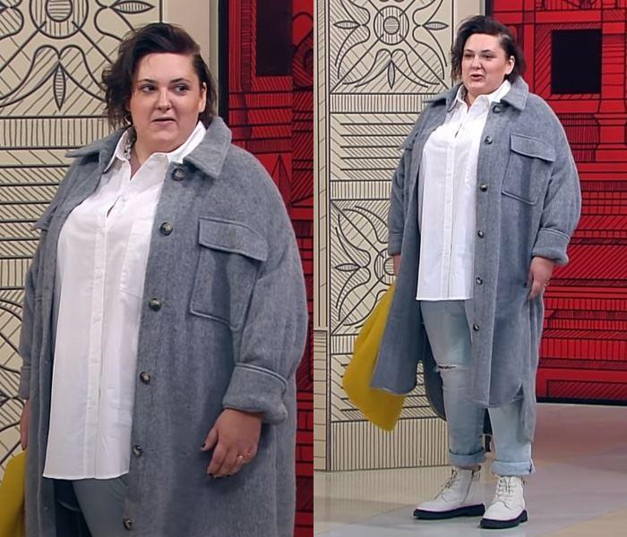 """""""Модный приговор"""", Ева ,100 кг, 62 размер - Рубашечный стиль с облегающими джинсами"""