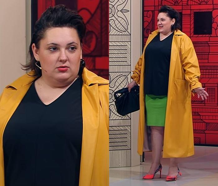 """""""Модный приговор"""", Ева ,100 кг, 62 размер - Оранжевый плащ с чёрным топом и зелёной юбкой"""