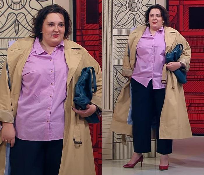 """""""Модный приговор"""", Ева ,100 кг, 62 размер - Бежевый плащ с сиреневой рубашкой и чёрными брюками"""
