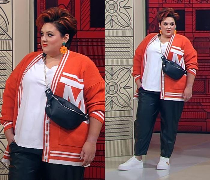 """""""Модный приговор"""", Ева ,100 кг, 62 размер - Трикотажный кардиган с кожаными брюками"""