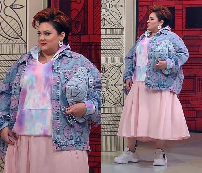 """""""Модный приговор"""", Ева ,100 кг, 62 размер - Джинсовка с юбкой и худи в зефирных оттенках"""