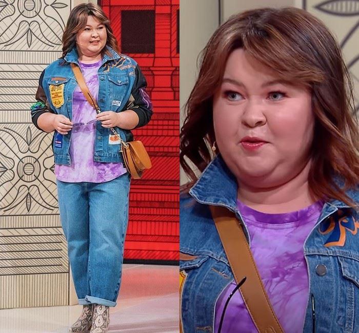 Модный приговор для Ирины - Джинсы + комбинированная куртка из денима + сиреневый топ