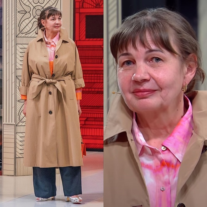 Модный приговор, пенсионерка Ирина 58 лет - Бежевый плащ + рубашка + широкие брюки