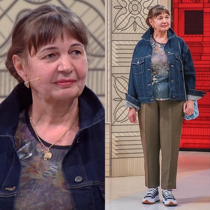 Модный приговор, пенсионерка Ирина 58 лет - Джинсовая куртка + укороченные брюки со стрелкой + кеды