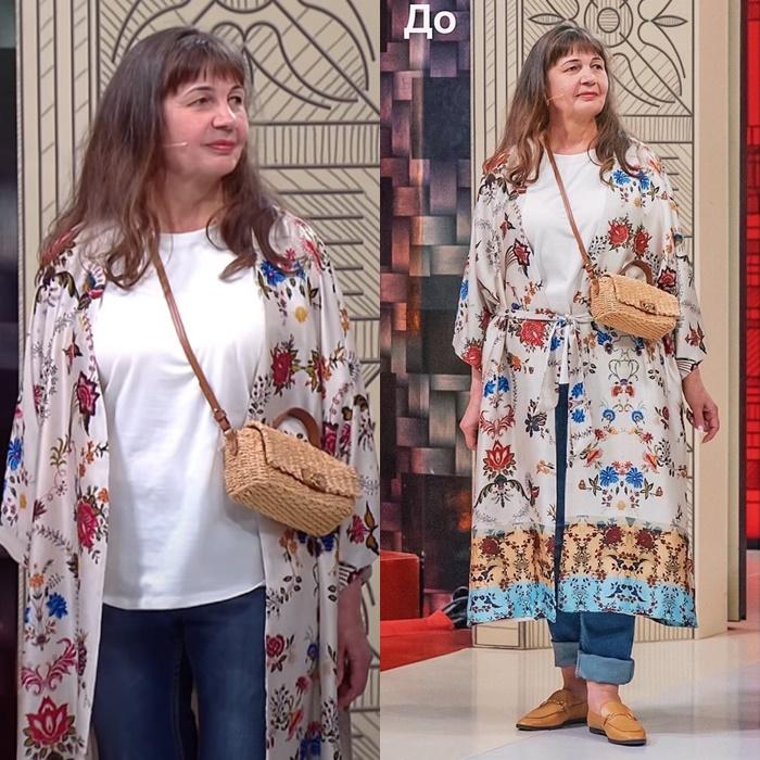 Модный приговор, пенсионерка Ирина 58 лет - Этническая накидка + белый топ + джинсы